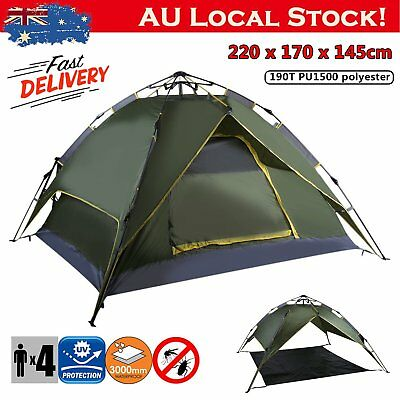 4 Person Double Layer Instant Pop Up Large Camping Tent Outdoor Shelter YU