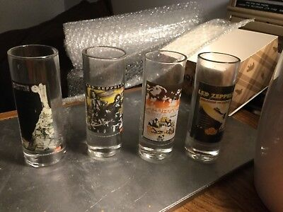 "Led Zeppelin- 2005-  4""- Bacardi 4 Shot Glasses- Used See Pics"