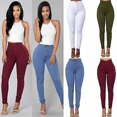 Women Ladies Skinny Pencil Pants High Waist Stretch Slim Fit Denim Jeans Trouser