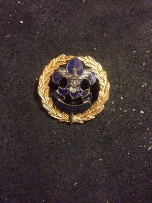 RARE Boy Scout District Commissioner Collar Brass Squatty Crown Threaded Post