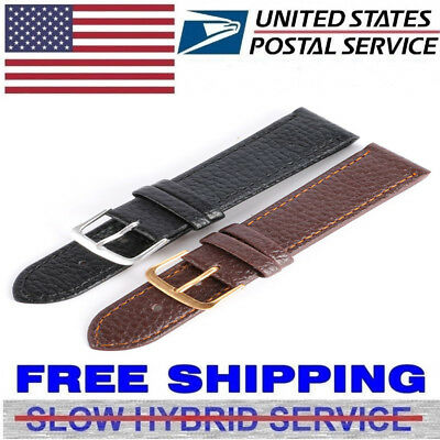 US Unisex Genuine Leather Wrist Watch Band Strap Replacement 12/14/16/18/20/22mm