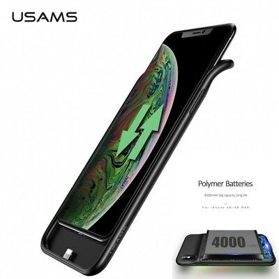 USAMS Portable 4000mah TPU Battery Charger Back Cover Case For iPhone XR XS Max
