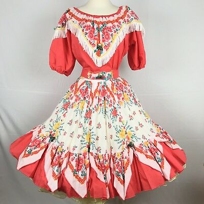 Square Dance Dress Coral Melon Floral Southwest Fancy Fashions Size M Vintage