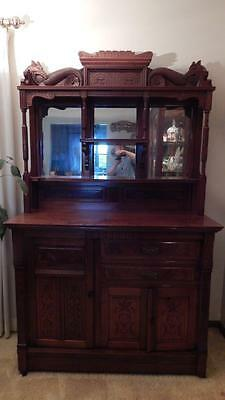 Antique Solid Wood Mirrored Sideboard Buffet Hutch Carved & Burled NEAR MINT