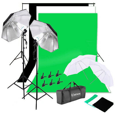 "Photography Kit 135W Light Bulb 33"" Umbrella 3 Backdrop Stand Set Photo Studio"