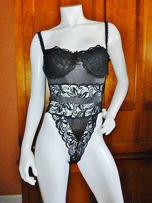 Vtg VICTORIAS SECRET Black Lace Stretch Lingerie Teddy Chemise Underwire Bra 34C