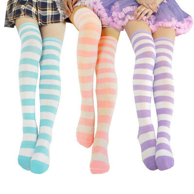 e8bda4f535b99 Cute Women Girls Long Striped Thigh High Stocking Anime Cosplay Over Knee  Socks