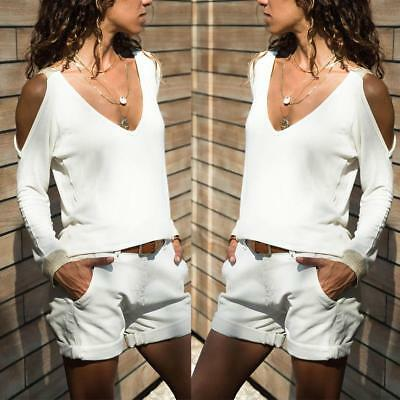 Womens Sexy Off Shoulder Casual Long Sleeve Halter T-Shirt Blouse Crop Tops