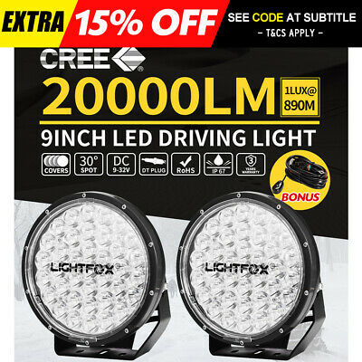 Pair 9 inch Round LED Driving Lights OffRoad Spot 4x4 Spotlights SUV Black