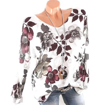Basic Long Sleeve Solid Top Womens Print Plain T Shirt Stretch Tight Round Neck
