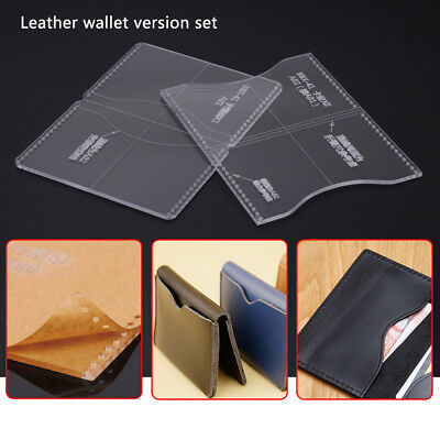 2Pcs Leather Wallet Template for Mens Bifold Wallet Acrylic Pattern Craft Tools