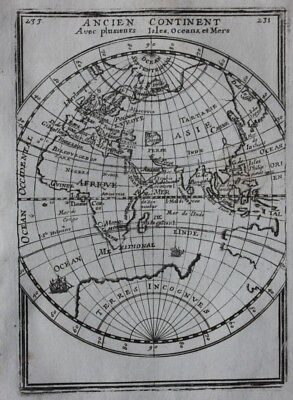 Original antique map OLD WORLD, EASTERN HEMISPHERE, ISLANDS, SEAS, Mallet 1683
