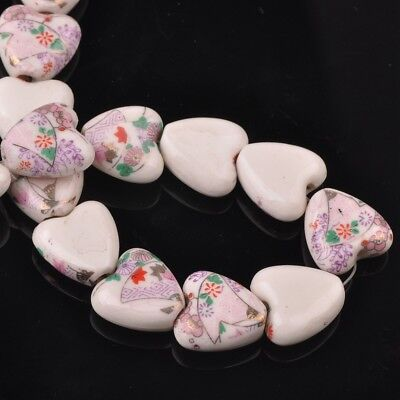 NEW 10pcs 14mm Ceramic Heart Flowers Loose Spacer Beads Findings Pattern #32