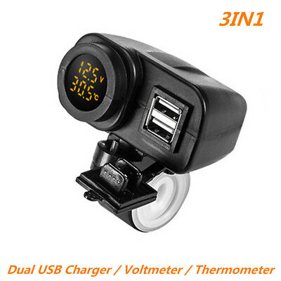 12V Dual USB Charger LED Digital Voltmeter & Thermometer For Motorcycle Scooter