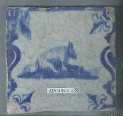 Antique Netherlands Delft Tile Around 1650