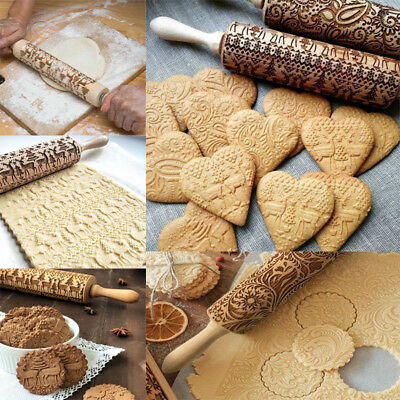 Wooden Rolling Pin Embossing Baking Cookies Noodle Biscuit Fondant Christmas