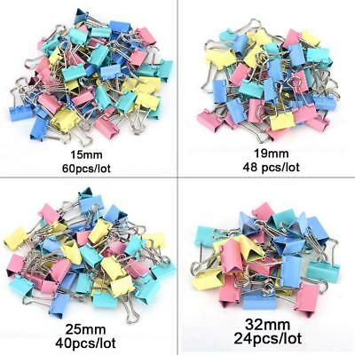 24/40/48/60Pcs Office Foldback Binder Clips Paper Document Bulldog Metal Grip