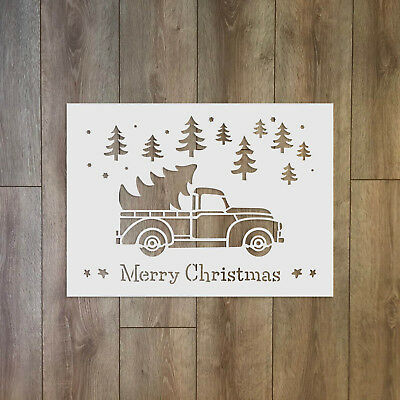 Merry Christmas text with trees and truck - Christmas / Winter Reusable Plastic