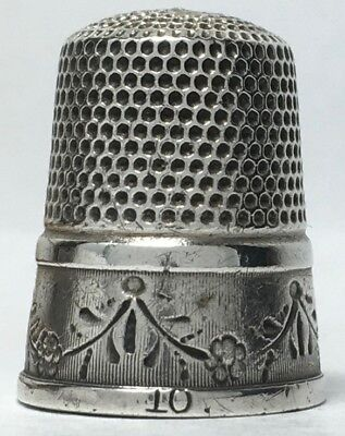 Simons Bros. -  Unusual Sterling Thimble with recessed band with Swagged Garland