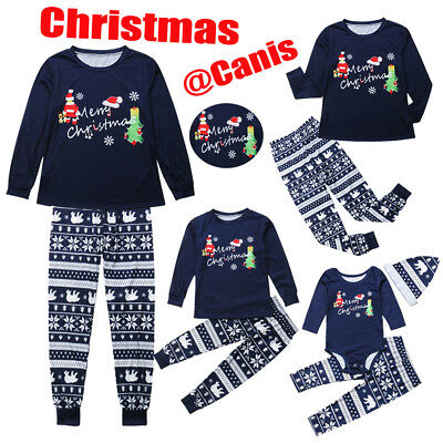 AU Christmas Family Matching Pajamas PJs Set Snowflake Xmas Sleepwear Nightwear