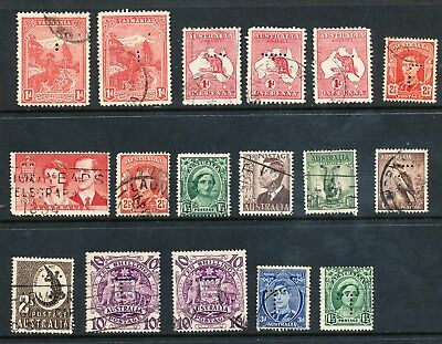 Tasmanian Official T Perfins on State and Australian Stamps (375)