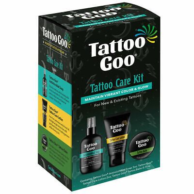 New Tattoo Goo 4 in 1 Aftercare Kit - For Healing & Protection Tin Soap Lotion