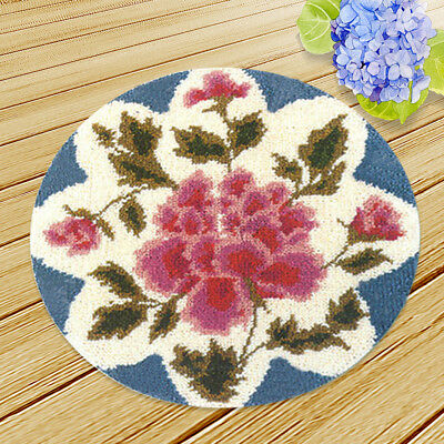 """Handmade Rose Flowers Latch Hook Rug Making Kits for Adults 19.6"""" Round DIY"""