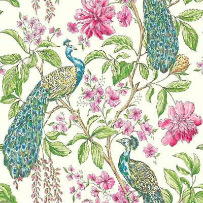Hibiscus White Peacock Animals Birds Butterflies Floral Paste Wall Wallpaper