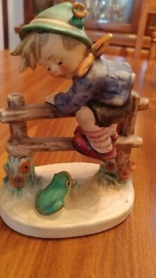 Hummel Goebel West Germany Figurine, Boy On Fence With Frog, Mint Condition