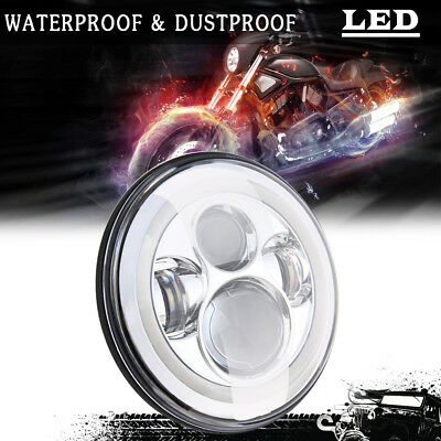 """7"""" Round 6K H4 Chrome Projector Led Head light Conversion For Chevy G10 G20 G30"""