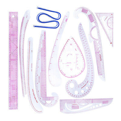 11pcs/Set Sewing French Curve Metric Ruler for Tailor Designer Drawing Tool