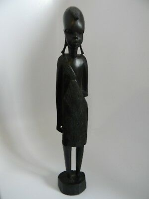 "African Folk Art Carved Ebony Wood 12.75"" Statue of Person Holding a Shield"