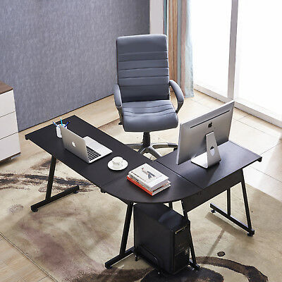 Office Desk Corner L Shaped Workstation with Keyboard Tray and CPU,MFB Black