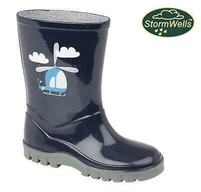 NAVY BLUE HELICOPTER Wellington Boots - Boys Welly - Size 3 4 5 6 7 8 9 10 11 12