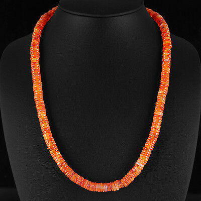 Outstandin 270.00 Cts Natural Rich Orange Carnelian Carved Beads Necklace Strand