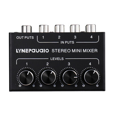 4-Channel Passive Mini Stereo Mixer 4 In 1 Out with Volume Control