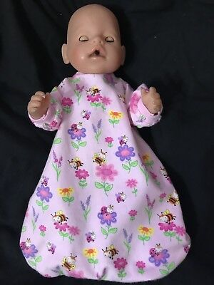 Dolls clothes made to fit 42cm Baby Born Dolls (size Med).  Sleeping Bag