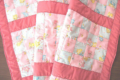 Hand Crafted Baby Crib Quilt Coral/Salmon w/ Multi. Bunnies Bears Balloons 31x41