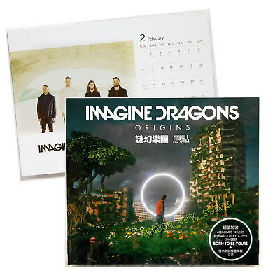 Imagine Dragons Origins Taiwan CD BOX Promo Poster Lyrics Calendar Card 2018 NEW