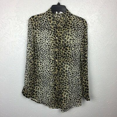 b16aa1a775a00b Equipment Blouse SZ S Long Sleeve Silk Button Down Leopard Print Collared   280