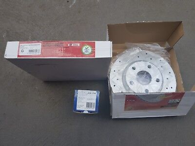 HOLDEN Commodore VE V6 FRONT Slotted Drilled Disc Rotors (2) & Brake Pads (1)