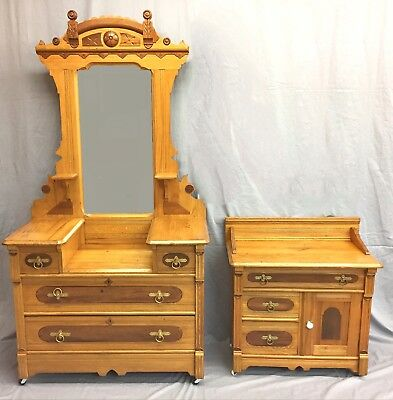 Antique Eastlake Dresser and Commode--Oak, Walnut, and Ash, Late 19th Century
