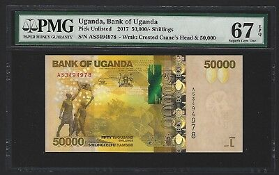 2017 Uganda 50000 Shillings, PMG 67 EPQ SUPERB GEM UNC, Beautiful Type P-NEW