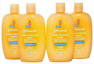 Johnson's Baby Moisture Wash Shea and Cocoa Butter Paraben Free 15 oz. Lot of 4