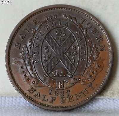 """1837 Bank of Montreal Lower Canada half Penny Token """"AU+"""" Free S/H After 1stItem"""