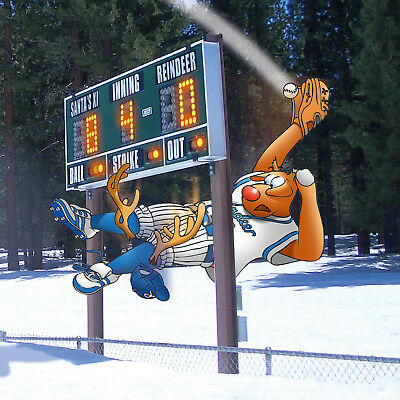 BASEBALL CHRISTMAS CARD - Now that is what i call a 'smashing' catch!