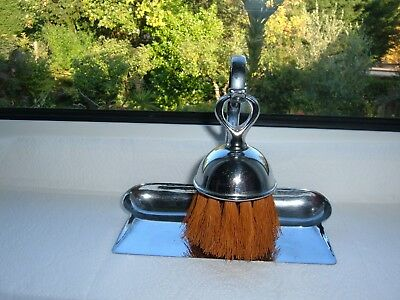 Vintage Chromed Crumb Brush and Tray/stand