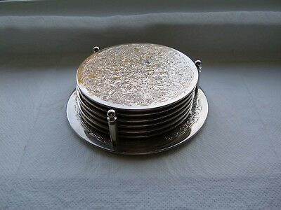 Silver Plated Coasters and Stand x 6