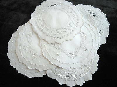 12 Antique Vintage Linen Appenzell Lace Round Cocktail Napkins Doilies Lot #4