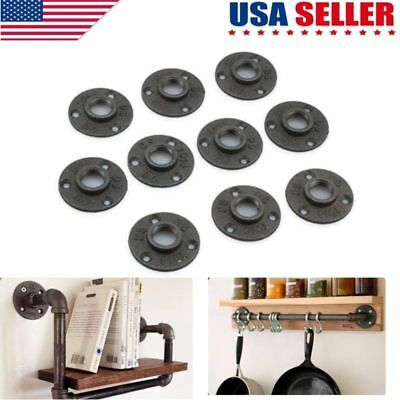 "10Pcs 1/2""3/4'' Malleable Threaded Floor Flange Iron Pipe Fittings Wall Mount US"